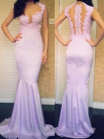 Wedding - Trumpet/Mermaid Scoop Neck Silk-like Satin Floor-length Appliques Lace Prom Dresses