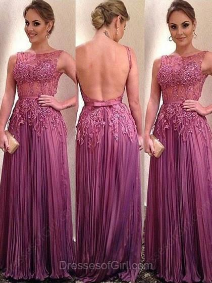Wedding - A-line Scoop Neck Chiffon Floor-length Beading Prom Dresses