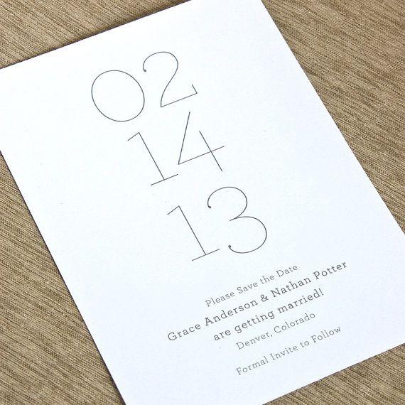 Mariage - Minimalist Save The Date - Simple Letterpress Save The Date, Chevron Letterpress, Foil Stamp, Flat Printing - Minima - DEPOSIT