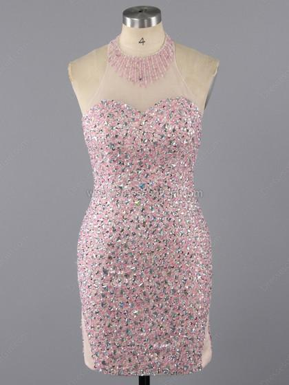 Wedding - Sheath/Column Halter Tulle Short/Mini Beading Prom Dresses