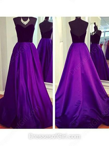 Boda - A-line Sweetheart Taffeta Sweep Train Ruffles Prom Dresses