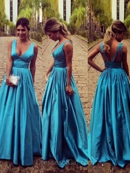 Hochzeit - A-line V-neck Elastic Woven Satin Floor-length Ruffles Prom Dresses