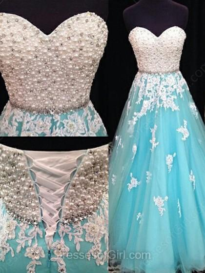 Wedding - A-line Sweetheart Tulle Floor-length Beading Prom Dresses