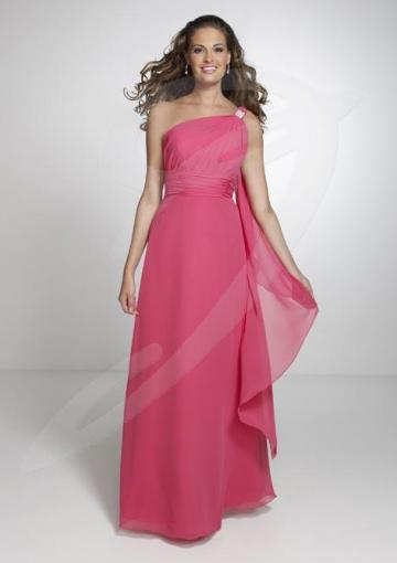 Wedding - One Shoulder with Tail Chiffon Floor Length Bridesmaid Dresses by Pretty Maids 22526