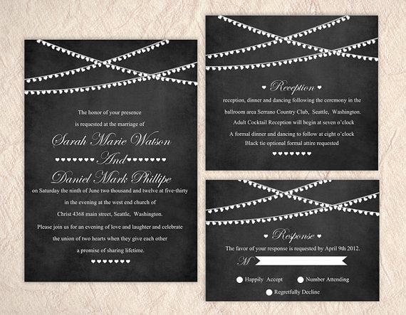 Mariage - Printable Chalkboard Wedding Invitation Suite Printable Invitation Lights Invitation Heart Invitation Download Invitation Edited jpeg file