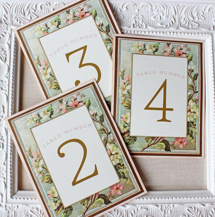 Mariage - Blush And Gold Floral Frame Table Numbers - Sunshine And Ravioli