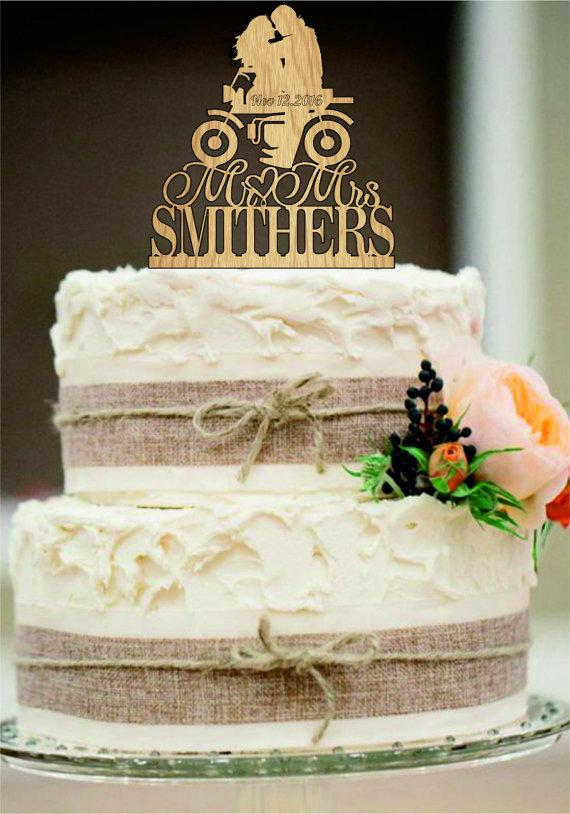 Wedding - Custom Wedding Cake Topper Mr and Mrs with a Motorcycle - Rustic Wedding Cake Toppers - Motorcycle cake toppers, Personalized Cake Topper