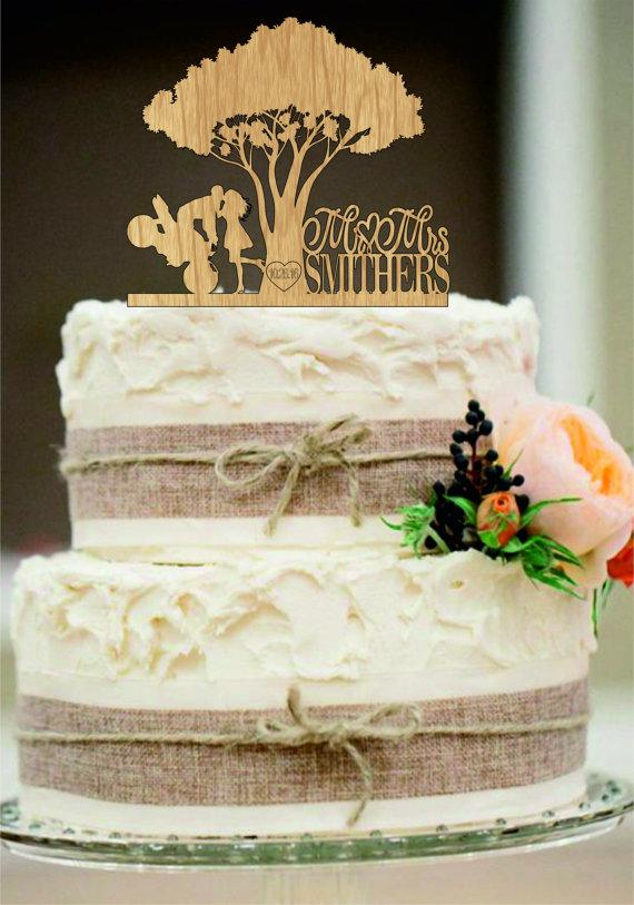 Custom Rustic Wedding Cake Toppers