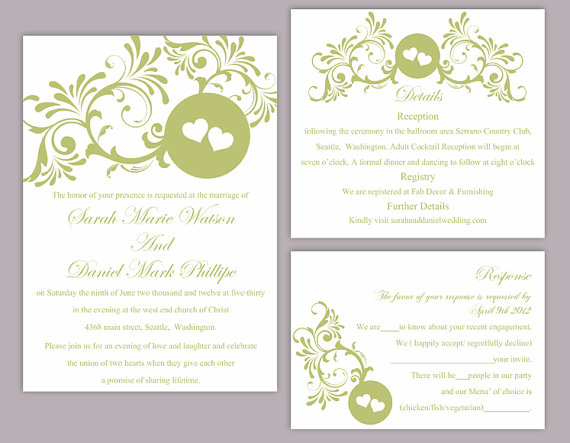 Diy wedding invitation template set editable word file instant download printable green for Free diy wedding invitation templates