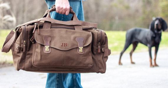 Hochzeit - Personalized Groomsmen Gift, Military Style Weekend Travel Duffel Bag Canvas Long Weekender, wedding gift, dad gift, graduation gift,