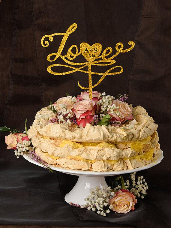 Свадьба - Wedding Gold Cake Topper, Custom Cake Topper Gold, Glitter Cake Topper, Monogram Topper, Initials Cake Topper Wedding, Model no: 14/gltt/CT