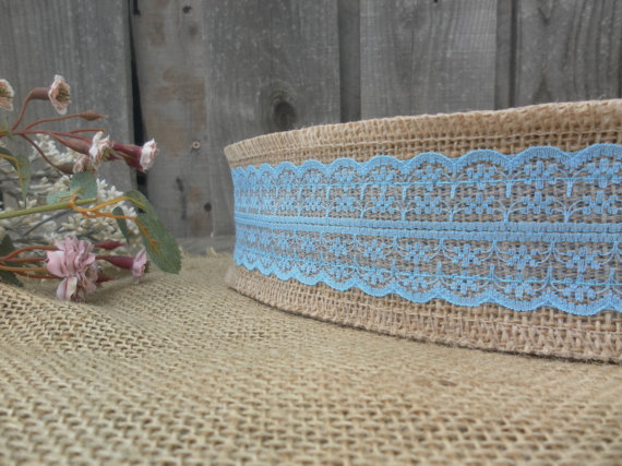 """Wedding - 2.5"""" Burlap Ribbon with Light Blue Lace - By the Yard ~ Baby Shower"""