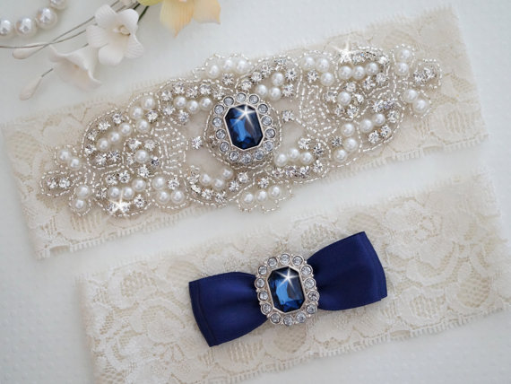 Mariage - CLAIRE Style A-Bridal Garter, Wedding Garter, Vintage Ivory Lace Garter, Pearl Garter, Something Blue