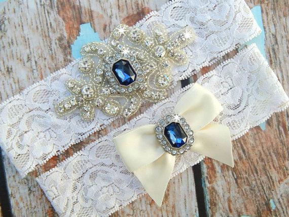Hochzeit - ON SALE Garter / Wedding Garter / Crystal Wedding Garter / Rhinestone Garter / Blue Garter Set / Toss Garter / Blue Garter / Lace Garter