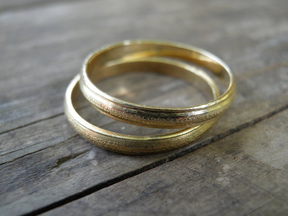 Mariage - Unique Wedding Bands, Wedding Bands Set, Vintage Inspired 14k Gold Wedding Rings, Men Woman Rings, Statement Rings, Bridal Jewelry