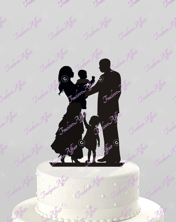 Wedding Cake Topper Silhouette Ethnic Family Holding Baby With Little Girl