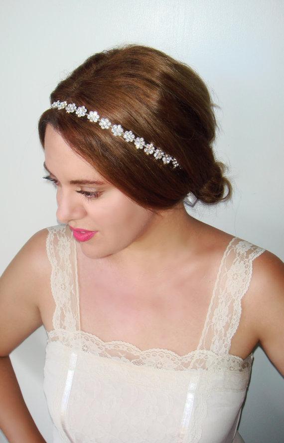 Wedding - Bridal headband, Rhinestone bridal headband, Wedding, Bridal hairpiece, Silver bridal, Crown, Wedding Headband, Hair Accessory- Bloom