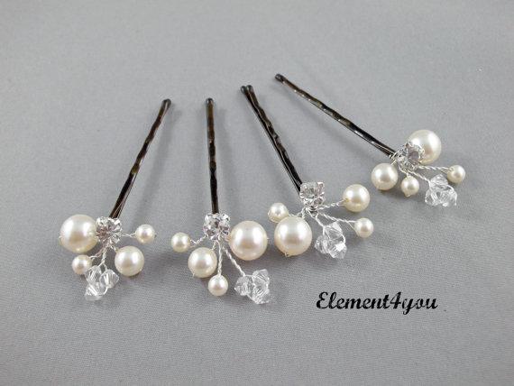 Hochzeit - Ivory Pearl Clip, Bridal Hair Pins, Wedding Hair Accessories, Swarovski Pearl Wedding Hair Pins, Set of 4, Floral Vine, White hair clips.