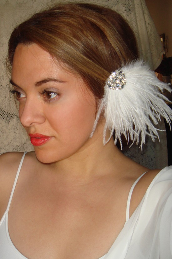 Wedding - Wedding Headpiece, Weddings,Feather Hair Clip, Wedding Headband, Bridal Headpiece, Accessories, Fascinator, White Feathers- AVA