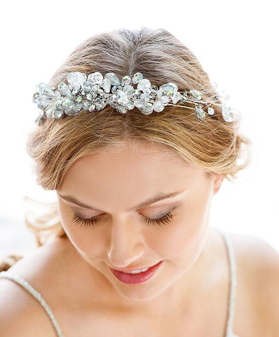 Silver Crystal Bridal Headband. Hair Accessories NYC. Handmade Bridal Tiara Online Bride ...