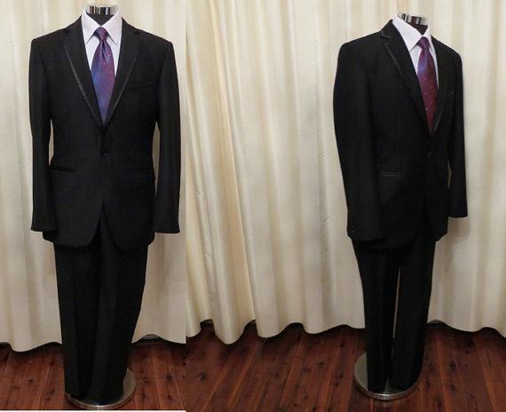 Свадьба - Vintage Mens' Fancini Two Piece Black Tuxedo Formal Suit Made in Australia