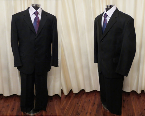 Hochzeit - Vintage Mens' Stafford Ellison Wool Blend Two Piece Black Pinstripe Formal Suit Large Size Made in Australia