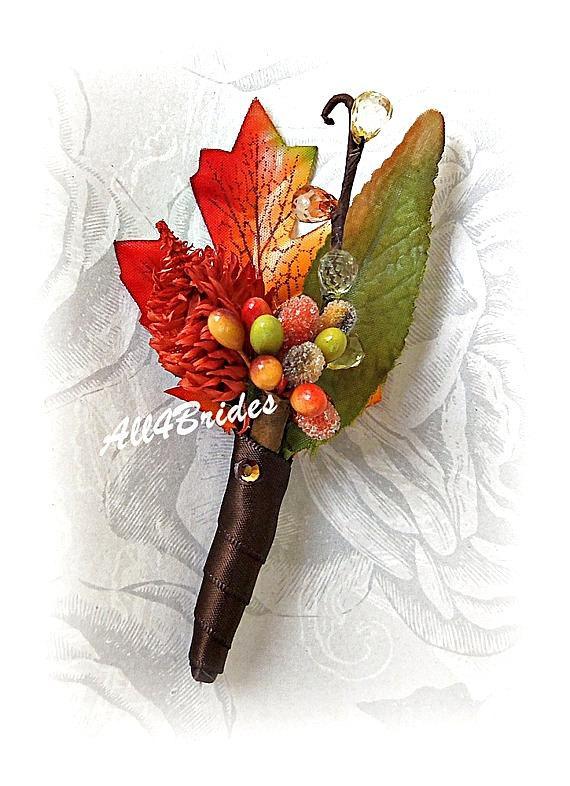 Свадьба - Mens Wedding Boutonniere, Fall wedding, chocolate brown, persimmon, burnt orange and green boutonniere