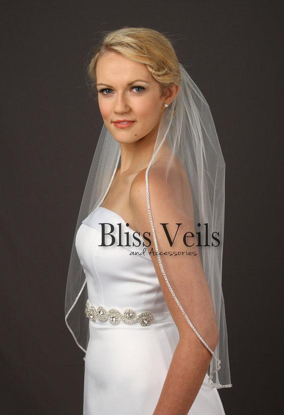 Wedding - Rhinestone Edge Wedding Veil, Waist Length Bridal Veil, One Layer Veil