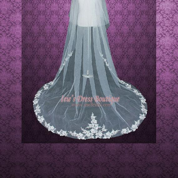 Свадьба - 90 inches 2 Tier Chapel Length Lace Edge Wedding Veil with Blusher