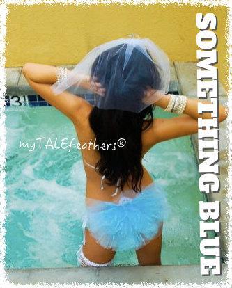 Mariage - Bling Bikini Veil - Something Blue - by myTALEfeathers®