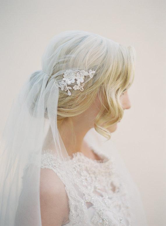 Mariage - Lace Veil, Juliet Cap Veil, Bridal Veil, Wedding Veil, Alencon Lace, Kate Moss Veil, Champagne Veil, Cathedral, 1920's Veil, Style 1513-BIT