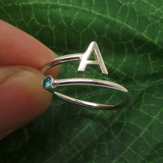 Wedding - Personalized Initial Birthstone Ring - Simple Minimalist Gift Ideas