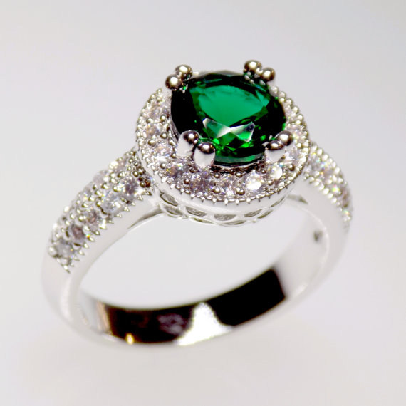 Свадьба - emerald halo engagement ring, green emerald ring, cz ring, halo ring, cz wedding ring, round cut size 5 6 7 8 9 10 - MC1082261AZ40