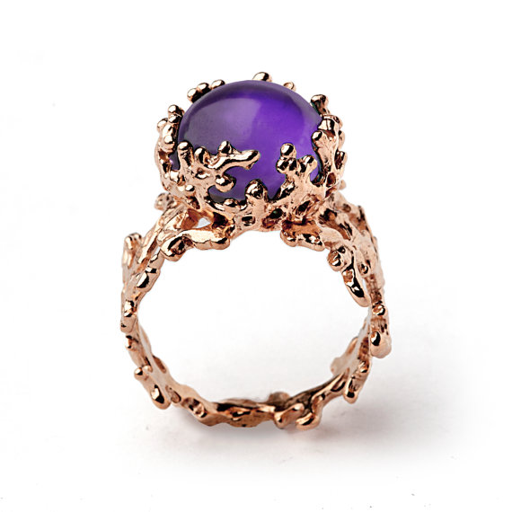 CORAL 14k Gold Amethyst Ring Purple Amethyst Engagement Ring