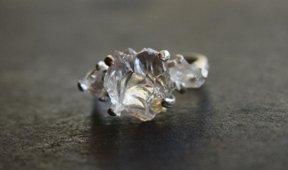 Alternative Engagement Ring Unconventional Raw Rough Diamond Ring