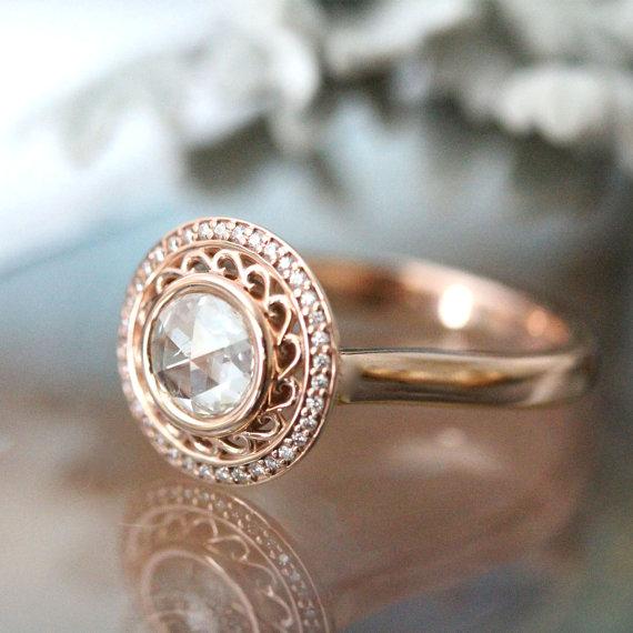 Mariage - Rose Cut White Diamond 14K Rose Gold Ring, Diamond Ring, Engagement Ring, Gemstone Ring, Stacking Ring, Anniversary Ring - Made To Order