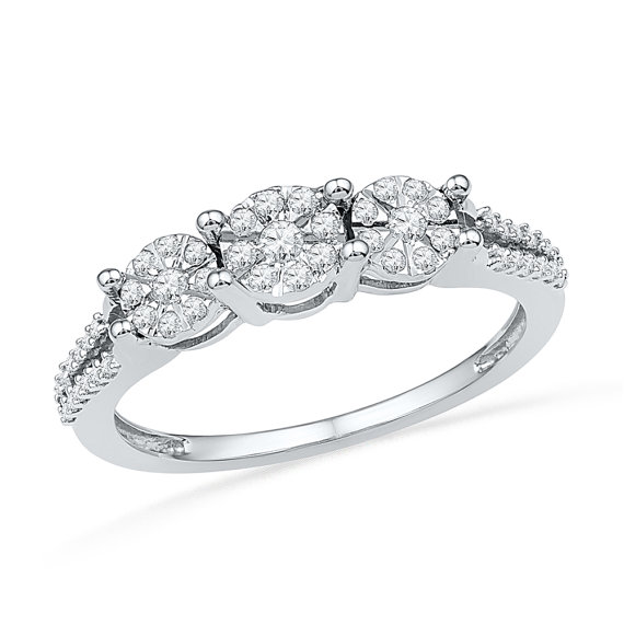 Hochzeit - Cluster Ring and 1/4 C.T T.W. Diamond Engagement Ring Made in Sterling Silver or White Gold