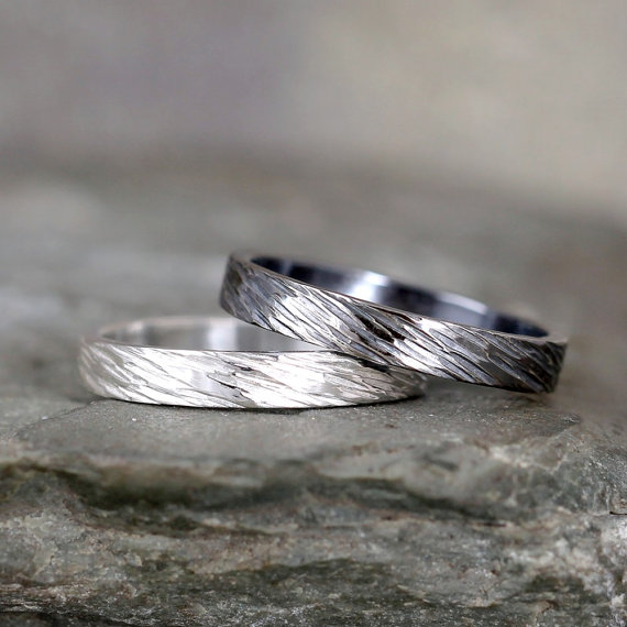 3mm Hammered Bark Texture Wedding Band Sterling Silver