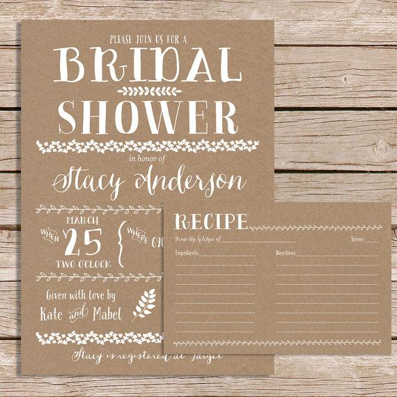 زفاف - Rustic Bridal Shower invitation with recipe card / vintage bridal shower invite / kraft paper bridal shower set / printable or printed cards