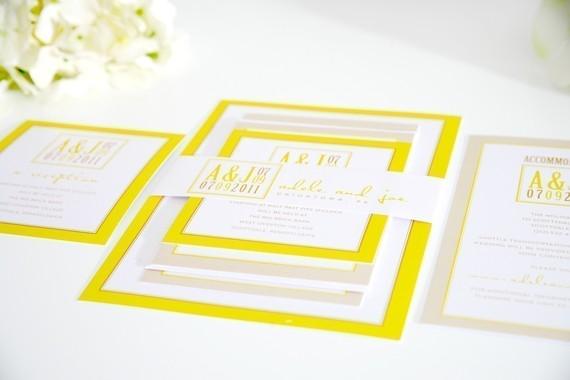 Wedding Invitation Beautiful Bright Modern Yellow Invites By Shine Invitations