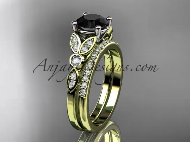 Wedding - 14k yellow gold unique engagement set, wedding ring with a Black Diamond center stone ADLR387S