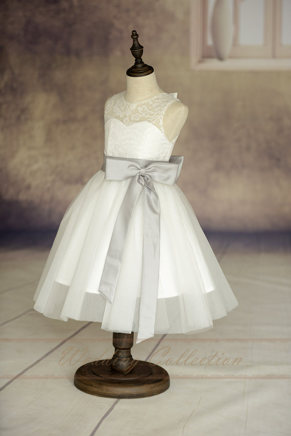 c66e34e18 Ivory Lace Tulle Flower Girl Dress With Sliver Sash And Bow #2372822 ...