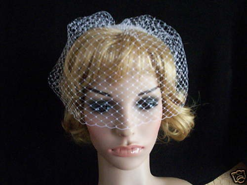 Hochzeit - white or ivory  birdcage face blusher veil made with fine russian net. with comb ready to wear as soon as arrive