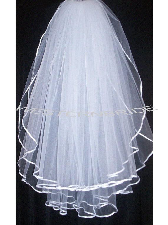Wedding - 2 tier Elegant Wedding Bridal veil. White or Ivory , your choice.  fingertip length with silver comb ready to wear