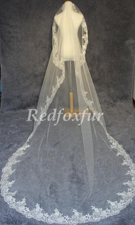 Wedding - Light ivory Lace cathedral veil, wedding veil, lace bridal veil, wedding headpiece, cathedral wedding veil, the cathedral veil