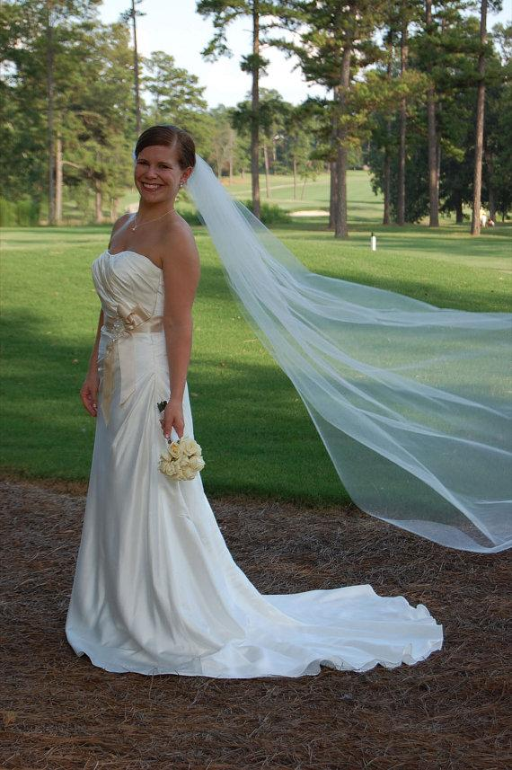 Wedding - Chapel style wedding veil Single layer  white, ivory or diamond
