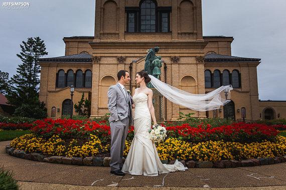 Mariage - Single layer chapel  wedding veil white, diamond or ivory