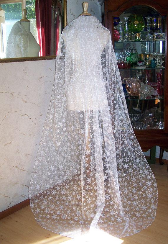 Wedding - Fall Winter Exclusive-The Christmas Frozen Veil-Snowflake Veil -Embossed Organza-Custom Comb Decoration-CRBoggs Original Design