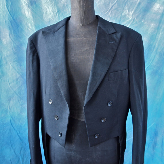 Mariage - Shipping Sale until Oct.12: 30's Tails Wedding Groom Tuxedo Jacket Gerhard Skusa Amazing  Vienna Black Art Deco Buttons