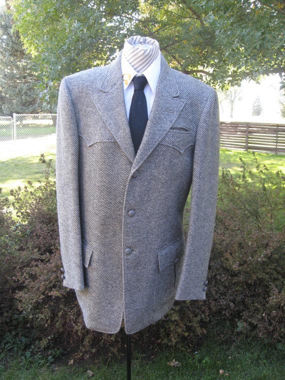 Свадьба - Vintage Men's Western Cut Lined Gray Wool Tweed Blazer/ Tweed Sport Coat/ Western  Wear By Real Sport Size 42